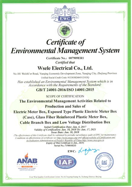 Cina WSELE ELECTRIC CO.,LTD. Sertifikasi